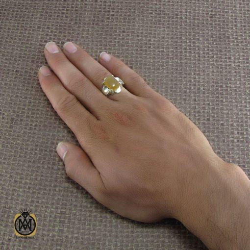 انگشتر عقیق یمن مردانه با حکاکی شرف الشمس – کد ۸۲۲۵