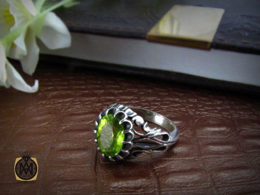 انگشتر زبرجد مردانه خوش رنگ و معدنی - کد 8176