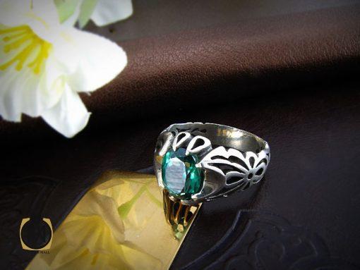 انگشتر توپاز سبز مردانه خوش رنگ و معدنی - کد 8177 - 6 11 510x383