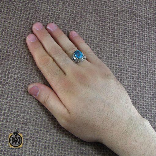 انگشتر نقره مردانه با نگین توپاز - کد 8184