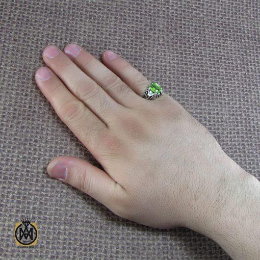 انگشتر نقره مردانه با نگین زبرجد - کد 8186 - 6 19 510x510