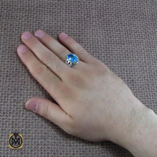 انگشتر توپاز آبی مردانه خوش رنگ و مرغوب - کد 8187 - 6 20 510x510