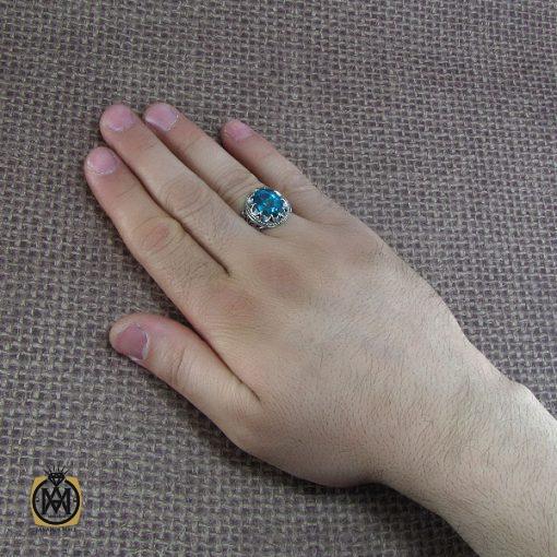 انگشتر نقره مردانه با نگین توپاز - کد 8182 - 6 23 510x510