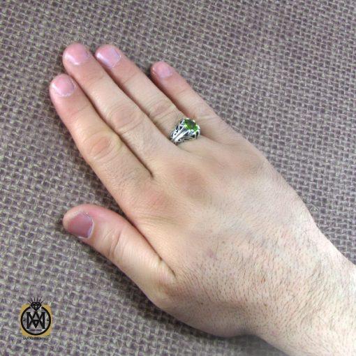 انگشتر نقره مردانه با نگین زبرجد - کد 8172 - 7 5 510x510