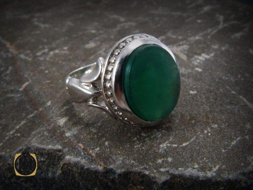 انگشتر عقیق سبز مردانه اصل و خوش رنگ - کد 8313 - 8313 510x383
