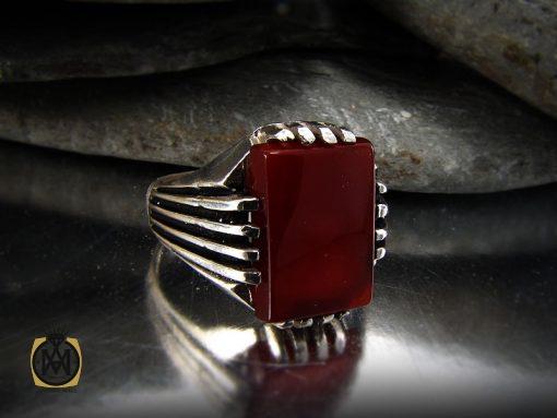 انگشتر عقیق قرمز مردانه – کد ۸۳۴۶