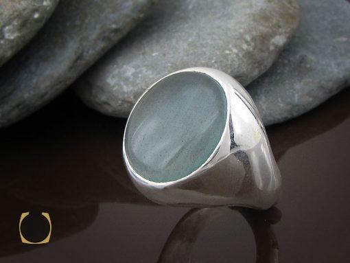 انگشتر آکوامارین مردانه درشت و معدنی - کد 8553 - 00 191 510x383