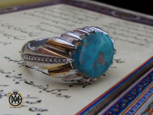 انگشتر فیروزه نیشابور صفوی مردانه رکاب دست ساز استاد شرفیان - کد 8570