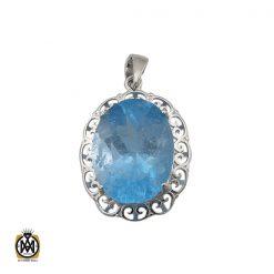 مدال توپاز آبی زنانه طرح تاما - کد 3077