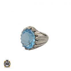 انگشتر توپاز آبی مردانه ارزشمند و درشت با رکاب دست ساز - کد 8545