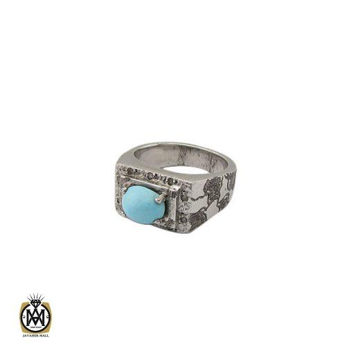 انگشتر فیروزه نیشابور صفوی مردانه رکاب دست ساز - کد 8572 - 1 445 510x510