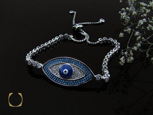 دستبند نقره زنانه طرح چشم زخم – کد ۱۰۷۶