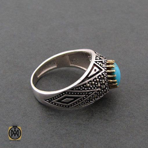 انگشتر فیروزه نیشابوری مردانه – کد ۸۳۹۳