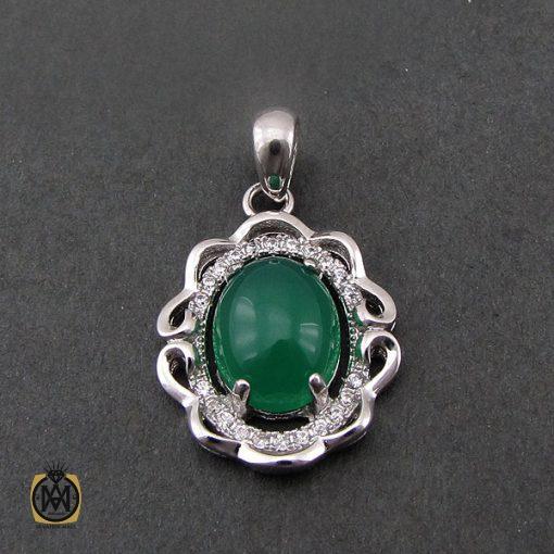 مدال عقیق سبز زنانه طرح سونیا - کد 3063