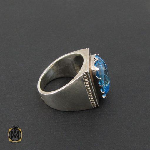انگشتر توپاز آبی مردانه درشت و مرغوب رکاب دست ساز - کد 8543 - 2 415 510x510