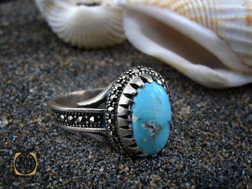 انگشتر فیروزه نیشابور زنانه طرح هستی - کد 2072 - 2072 510x383