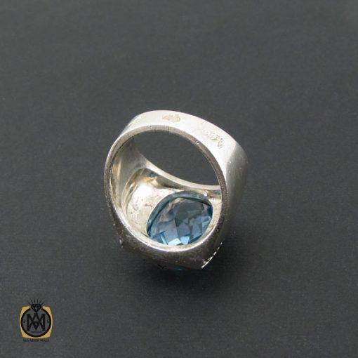 انگشتر توپاز آبی مردانه درشت و مرغوب رکاب دست ساز - کد 8543 - 3 415 510x510