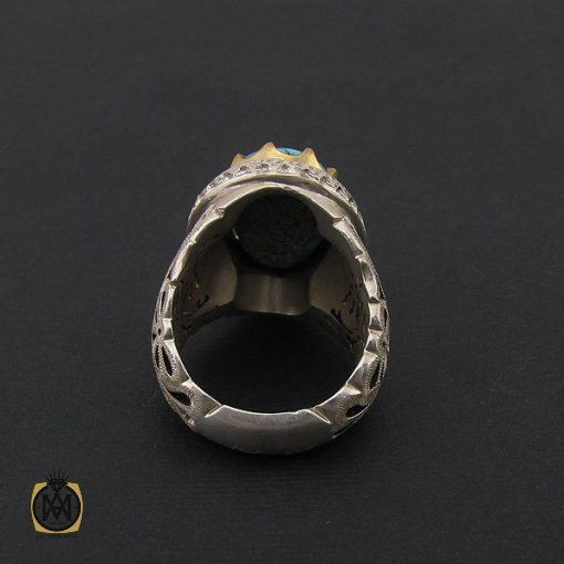 انگشتر فیروزه نیشابور سلطنتی مردانه با رکاب دست ساز – کد ۸۵۷۳