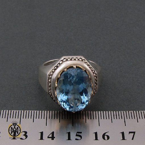 انگشتر توپاز آبی مردانه دست ساز – کد ۸۴۶۵