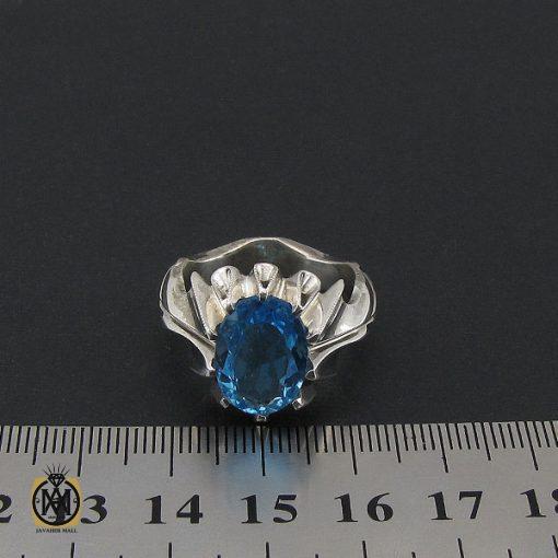 انگشتر توپاز آبی مردانه دست ساز – کد ۸۵۴۱