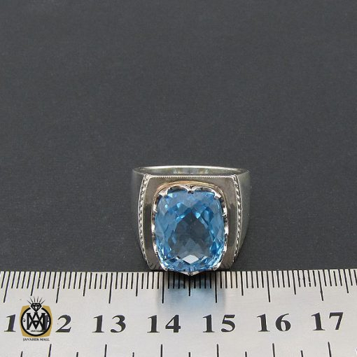انگشتر توپاز آبی مردانه درشت و مرغوب رکاب دست ساز - کد 8543 - 4 410 510x510