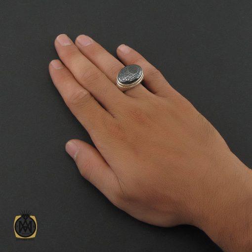 انگشتر حدید سینی با حکاکی کف العباس مردانه – کد ۸۴۴۳