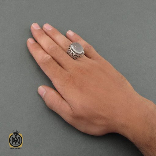 انگشتر دُر نجف با حکاکی یا زهرا مردانه – کد ۸۴۷۰