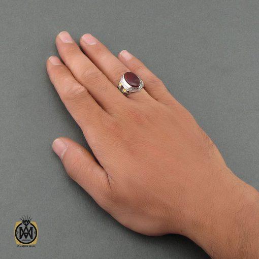 انگشتر عقیق یمن، یاقوت و زمرد مردانه – کد ۸۴۷۵