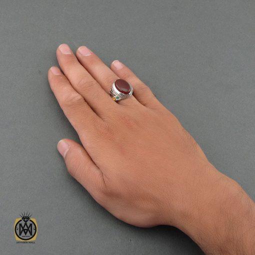 انگشتر عقیق یمن، زمرد و یاقوت مردانه – کد ۸۴۷۷