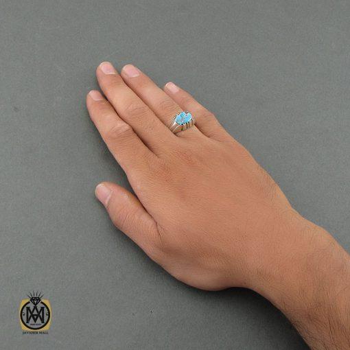 انگشتر فیروزه نیشابوری مردانه دست ساز - کد 8490