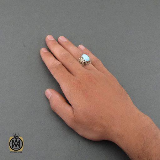 انگشتر فیروزه نیشابوری با کیفیت مردانه دست ساز – کد ۸۴۹۲