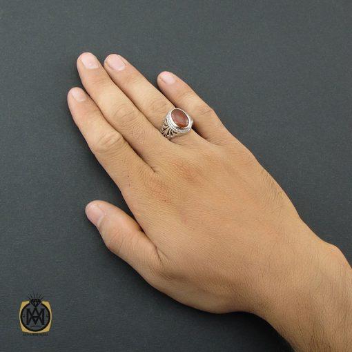 انگشتر عقیق یمن مردانه دست ساز - کد 8496
