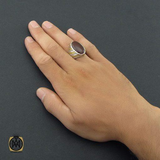 انگشتر عقیق یمن مردانه درشت دست ساز – کد ۸۵۳۴