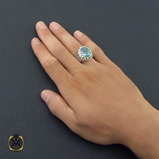 انگشتر توپاز سبز مردانه خوش رنگ – کد ۸۵۴۰