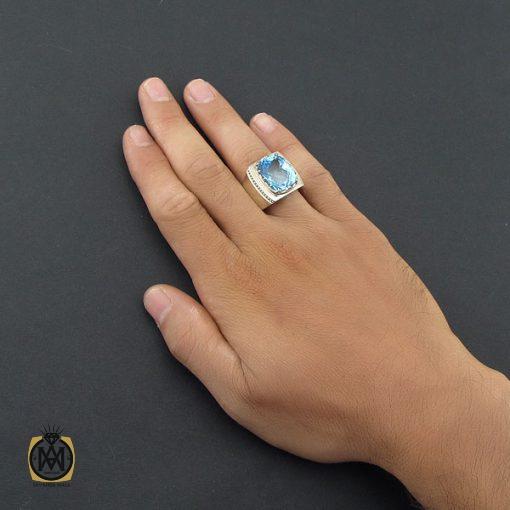 انگشتر توپاز آبی مردانه درشت و مرغوب رکاب دست ساز - کد 8543 - 5 301 510x510
