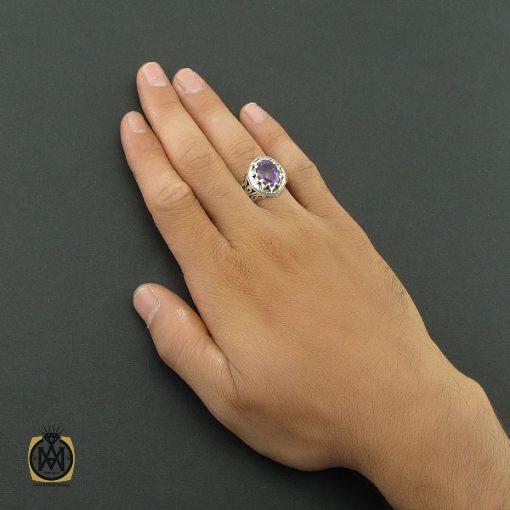انگشتر آمتیست مردانه رکاب دست ساز – کد ۸۵۵۸
