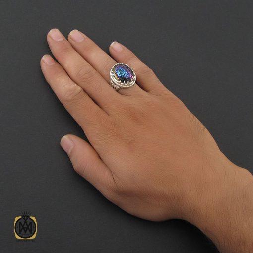 انگشتر حدید سینی با حکاکی ولایه علی بن ابی طالب مردانه – کد ۸۳۷۰