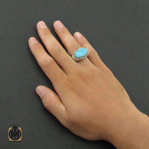 انگشتر فیروزه نیشابور صفوی مردانه رکاب هنر دست استاد شرفیان - کد 8567 - 5 325 510x510