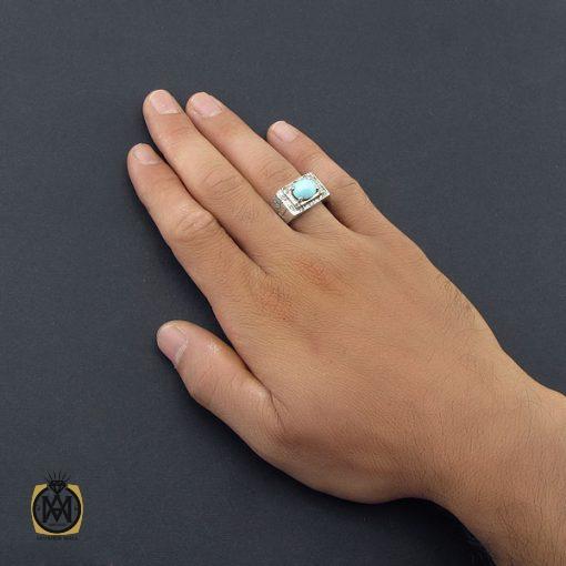 انگشتر فیروزه نیشابور صفوی مردانه رکاب دست ساز - کد 8572 - 5 330 510x510