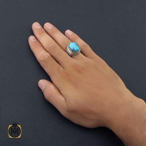 انگشتر فیروزه نیشابور خوش طبع مردانه رکاب دست ساز - کد 8574 - 5 332 510x510