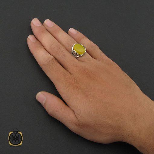 انگشتر عقیق زرد با حکاکی شرف الشمس مردانه - کد 8376 - 5 38 510x510