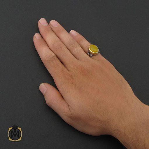 انگشتر عقیق زرد با حکاکی شرف الشمس مردانه - کد 8384 - 5 46 510x510