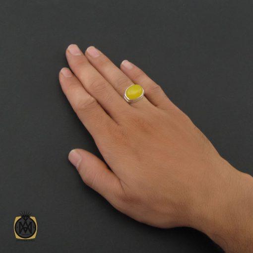 انگشتر عقیق زرد با حکاکی شرف الشمس مردانه – کد ۸۳۸۷