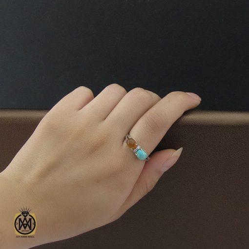 انگشتر فیروزه نیشابور  و عقیق یمن زنانه طرح نوگل - کد 2090 - 5 61 510x510