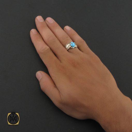 انگشتر فیروزه نیشابوری مردانه اصل و معدنی - کد 8395 - 5 82 510x510