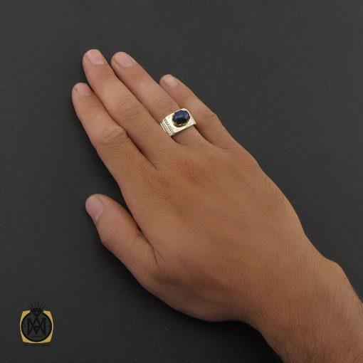 انگشتر یاقوت کبود استار مردانه – کد ۸۴۰۲