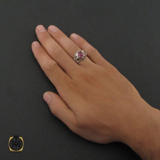 انگشتر یاقوت سرخ آفریقایی مردانه اصل و خوش رنگ – کد ۸۴۰۸