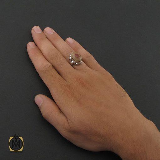 انگشتر عقیق یمن باباقوری سه پوست مردانه - کد 8409