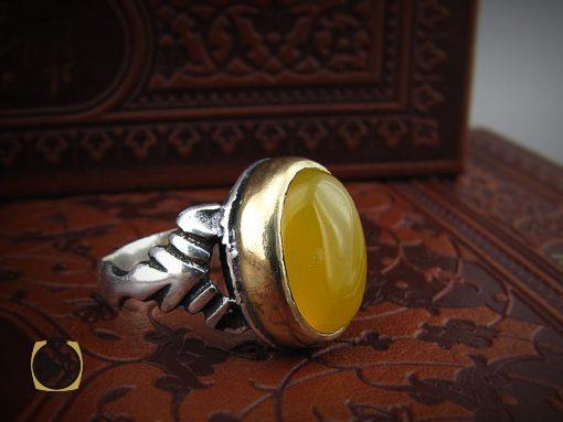 انگشتر عقیق زرد با حکاکی شرف الشمس مردانه - کد 8384 - 8384 510x383