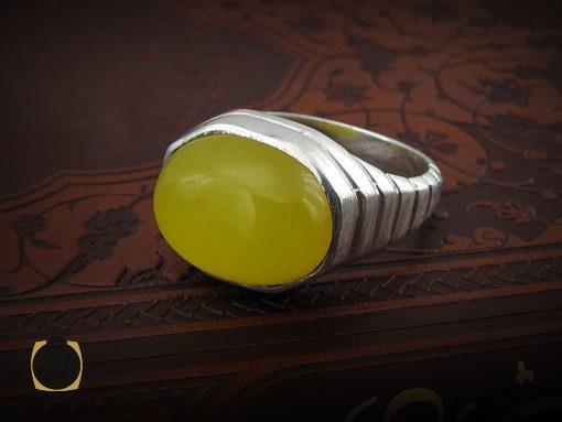 انگشتر عقیق زرد با حکاکی شرف الشمس مردانه - کد 8387 - 8387 510x383